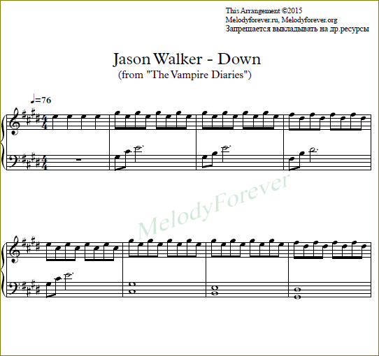 piano sheet ноты Jason Walker - Down