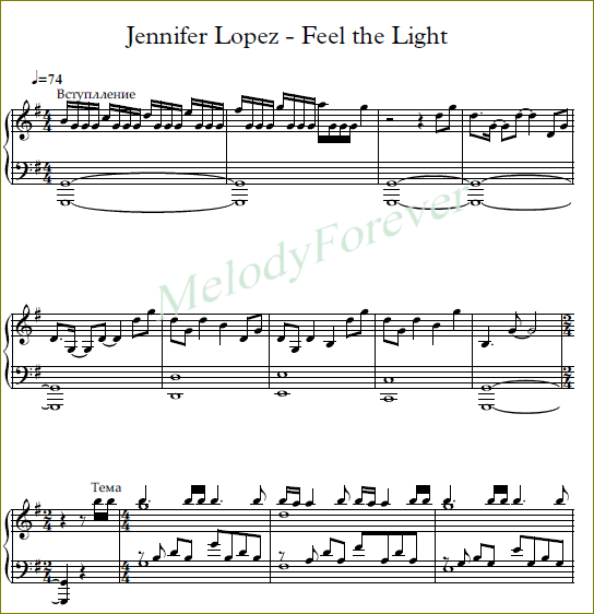ноты Jennifer Lopez - Feel the Light
