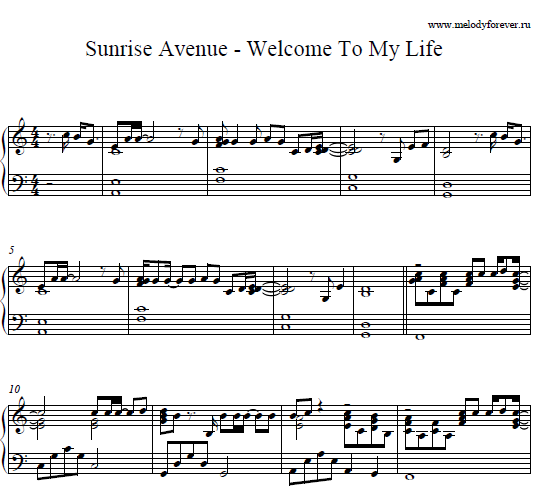 Ноты Sunrise Avenue