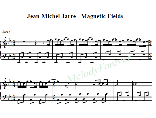 ноты для фортепиано Jean-Michel Jarre - Magnetic Fields PT.2