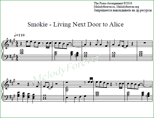 ноты для фортепиано Chris Norman Living Next Door to Alice
